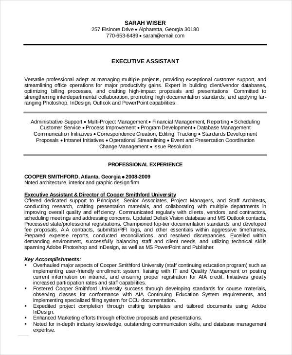 Administrative Assistant Resume   Free Word Pdf Psd