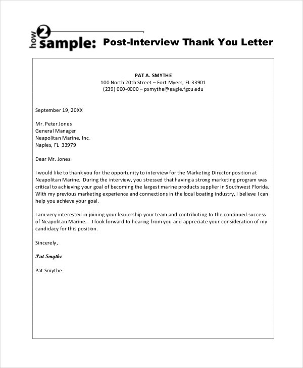 sample post interview thank you letter template