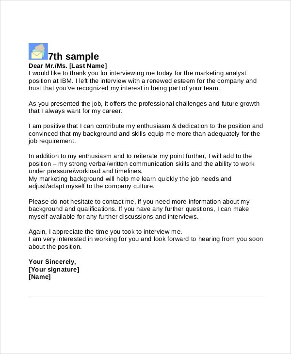 thank you letter after second interview sample