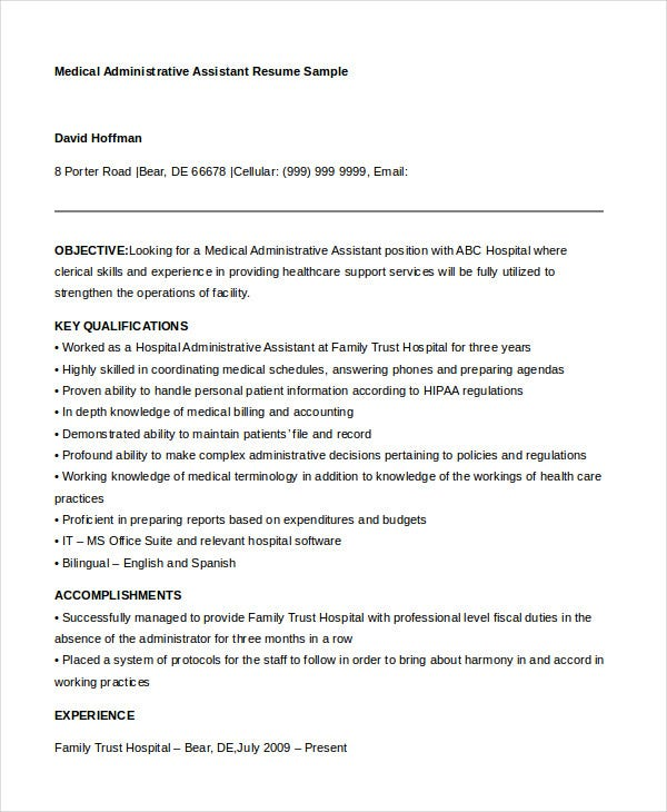 medical administrative assistant resume samples - Medical Administrative Assistant Resume