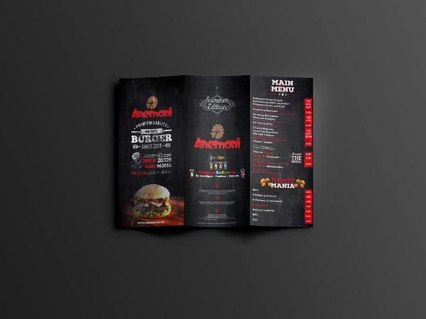 anemoni restaurant tri fold broucher template