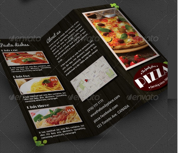pizza restaurant tri fold brochure indesign