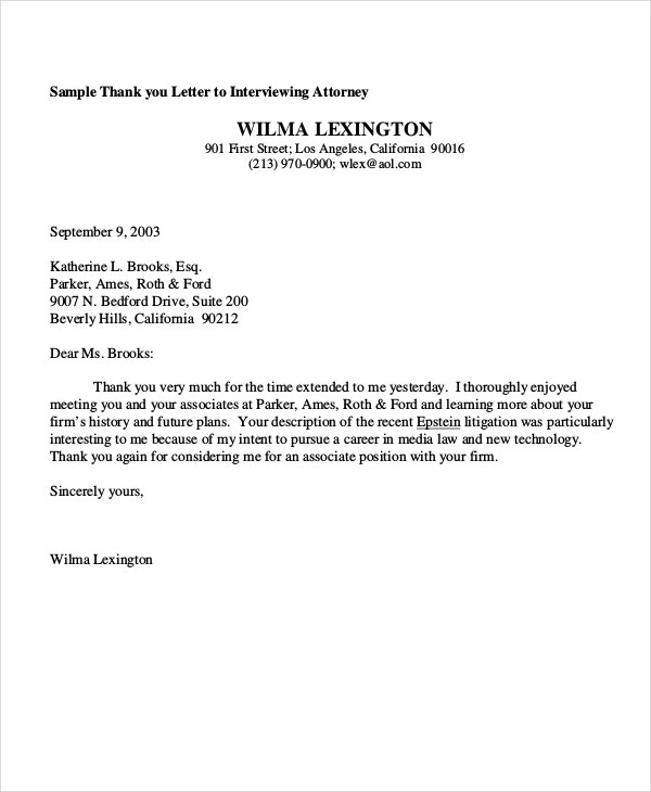 sample thank you letter to interviewing attorney