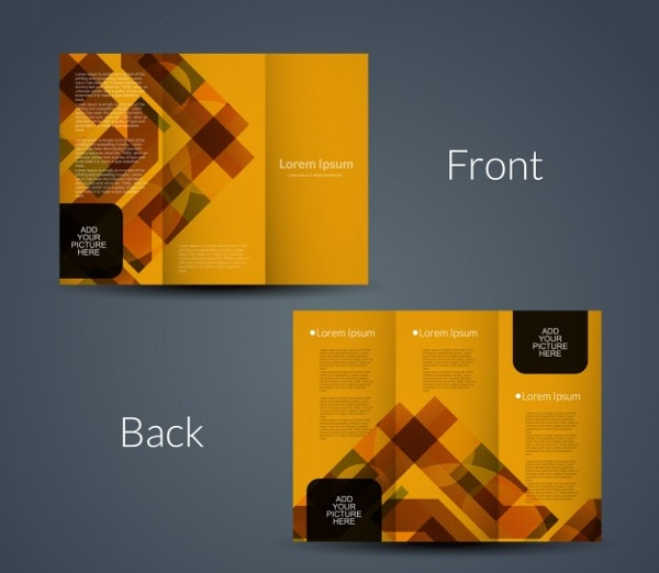 orange geometric tri fold template