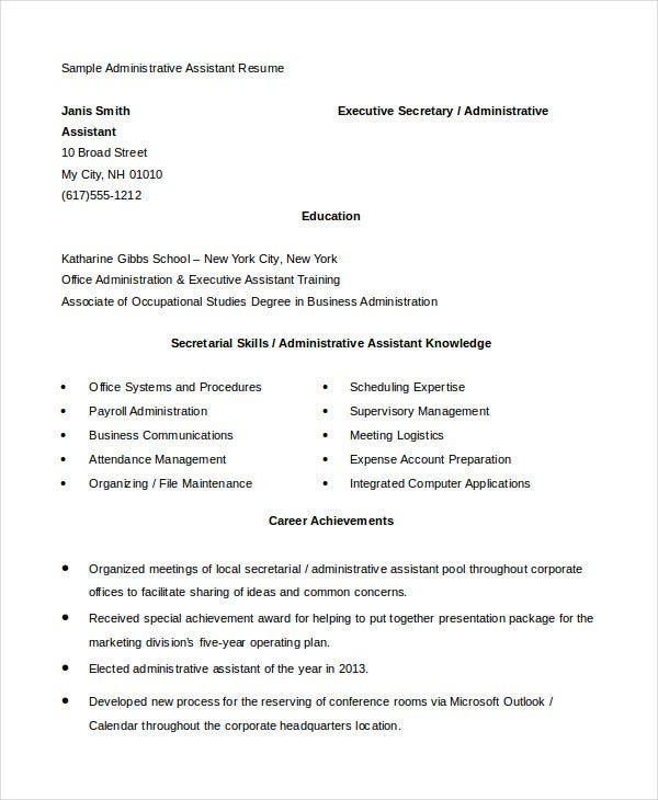 Administrative Assistant Resume 14 Free Word Pdf Psd Documents