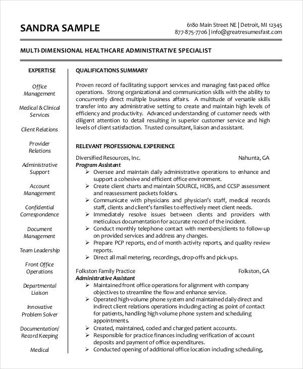 healthcare-administrative-assistant-resume