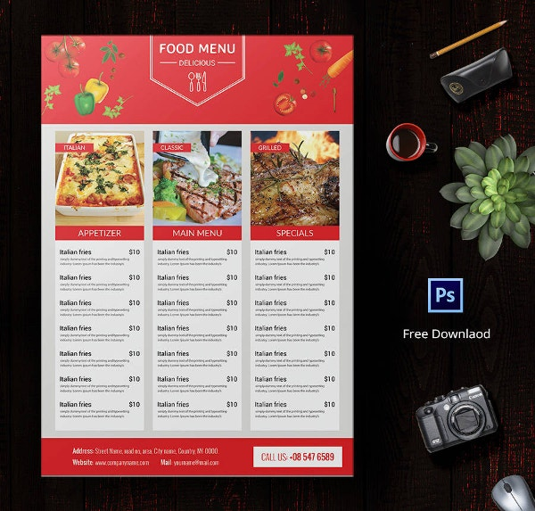 Menu Template 21 Free PSD EPS AI InDesign Word PDF – Food Menu Template