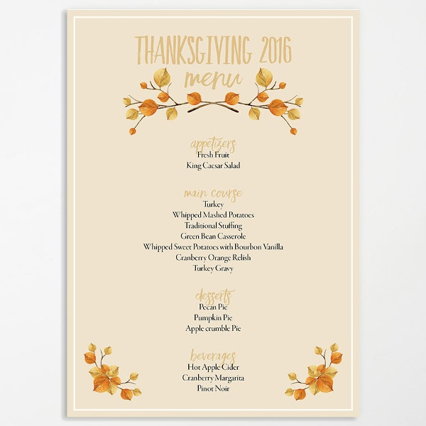 Printable Thanksgiving Menu Template  Free Menu Templates Printable