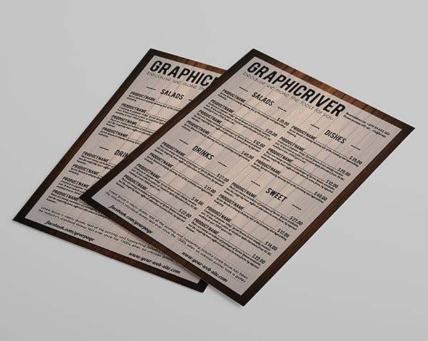 Multipurpose wooden style menu