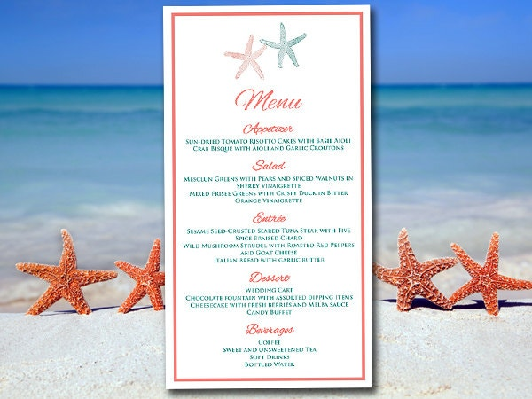 Beach Wedding Menu Template