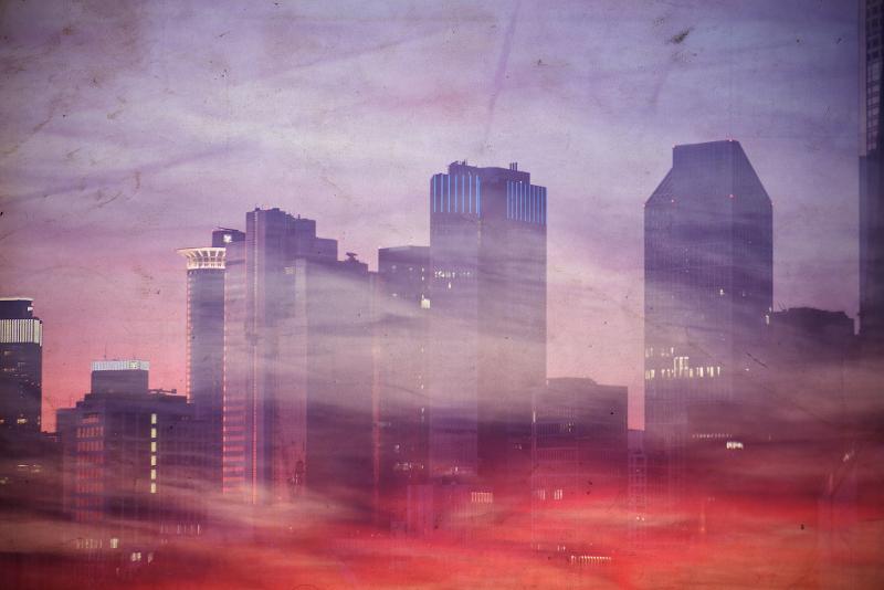 city scape double exposure photo