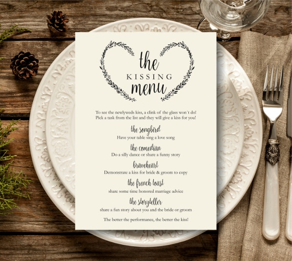 Printable Kissing Menu Template