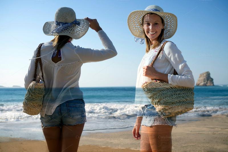 fashion women at beach double explosure