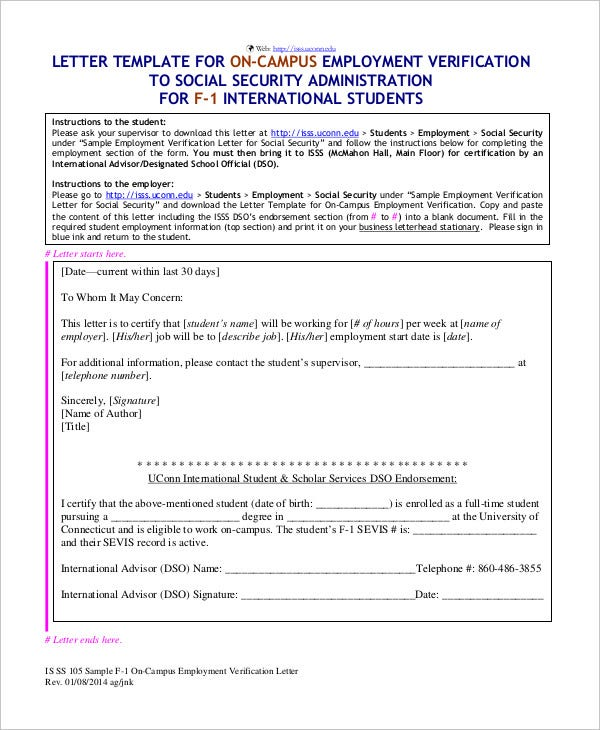 Employment Verification Letter 8 Free PDF Documents Download – Job Verification Letter