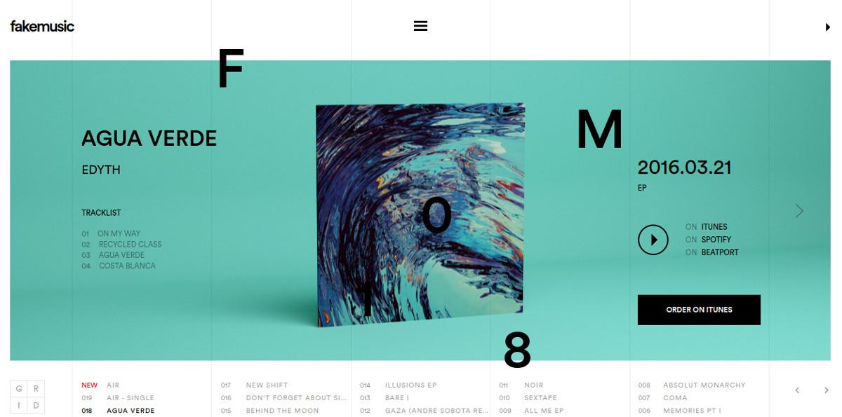 music minimalist website design