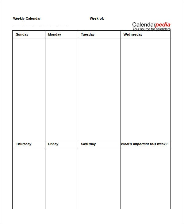 sample weekly calendar template