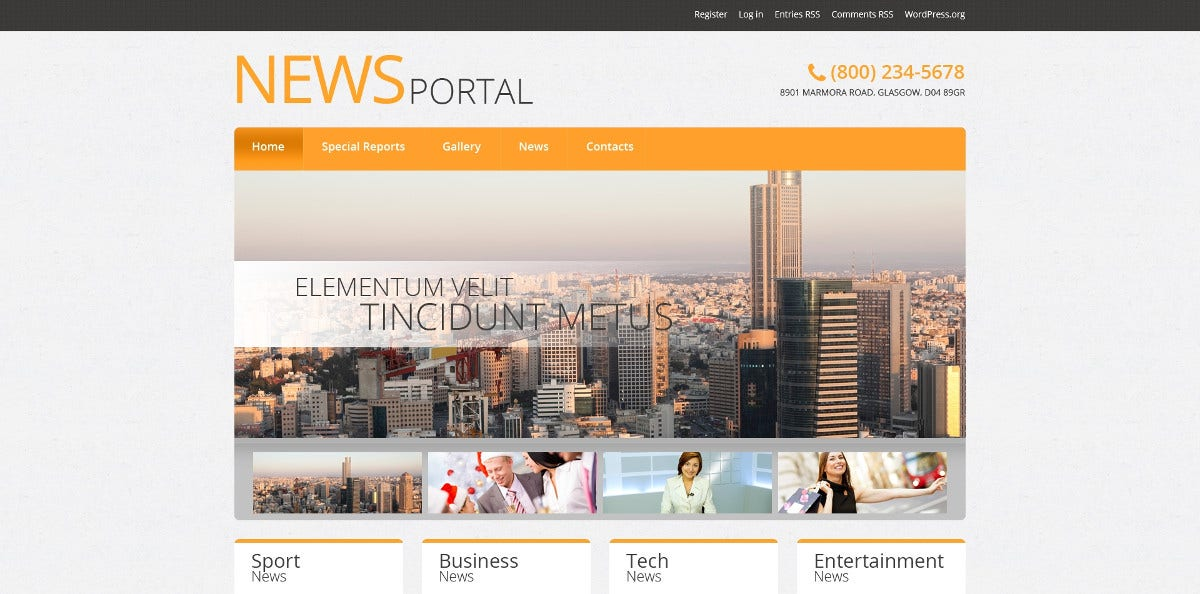 News Portal Website WordPress Theme $75