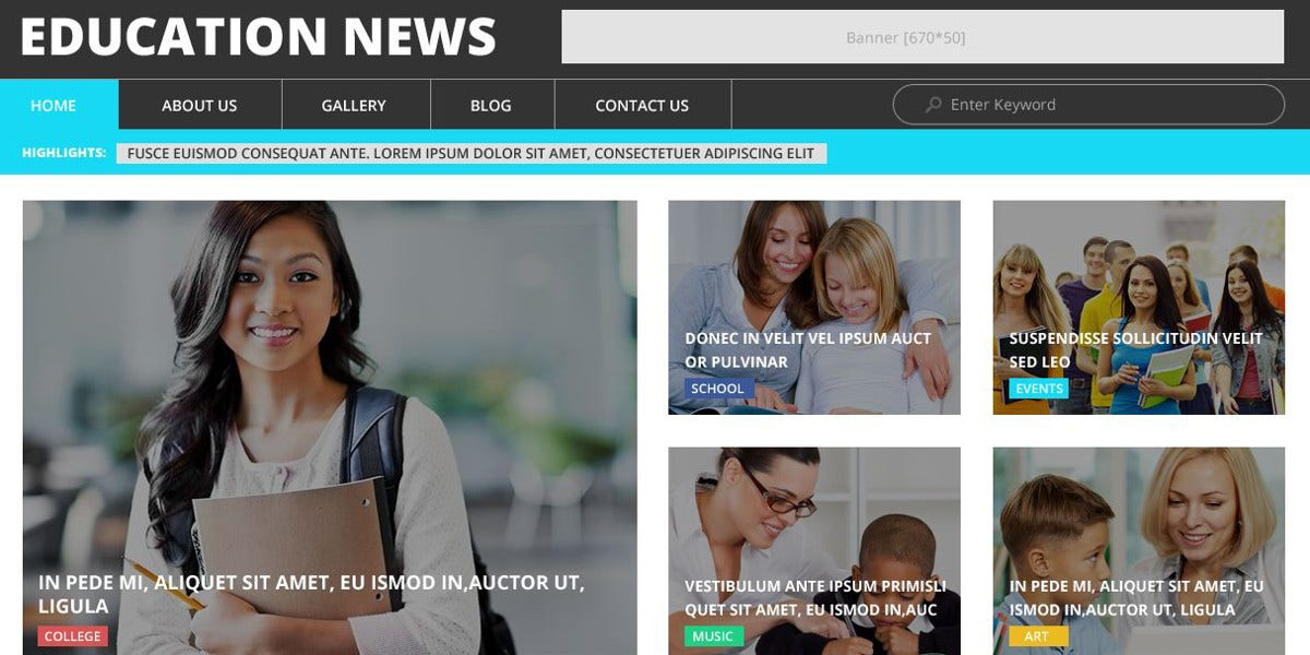 Education News Website WordPress Theme $75