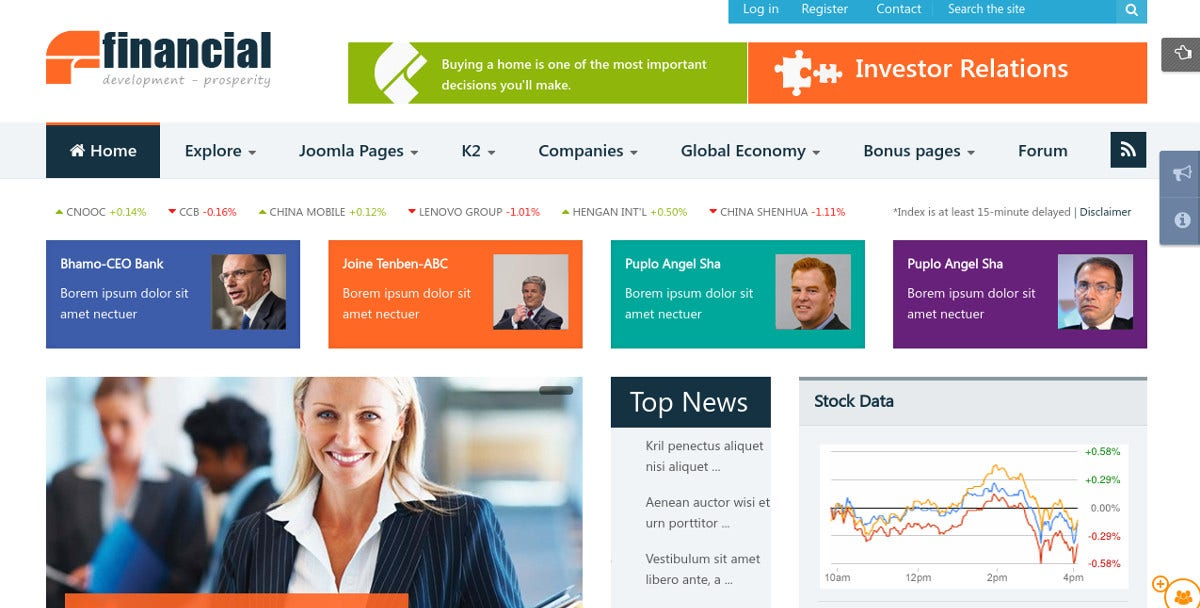 Financial Responsive Joomla News Website Template $48
