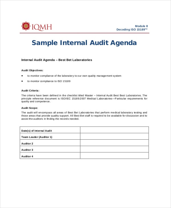 sample-internal-audit-agenda-template