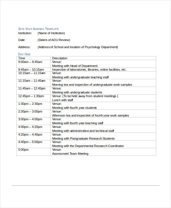 School Agenda Template School Agenda Template Sample Training
