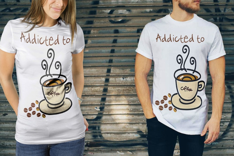 t shirt mockup with coffee cup design