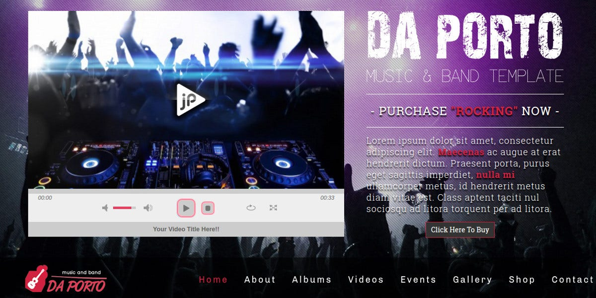 One Page Music & Band MODX Template $41