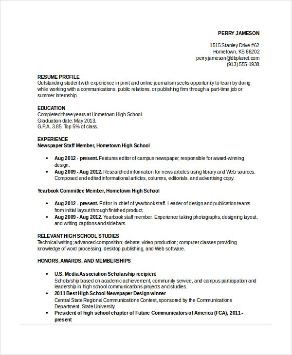 Job Resume Template For High School Student  Best High School Resume