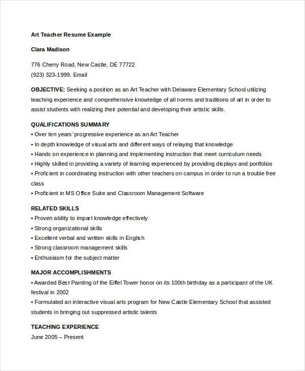 Teacher resume 9 free sample example format free for Sample resume for art and craft teacher