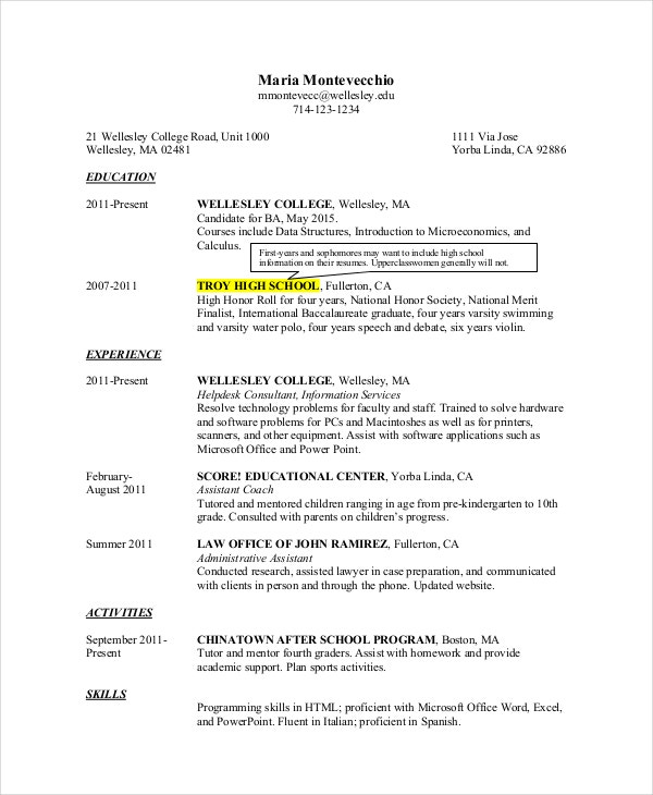 impressive high school student resume for college