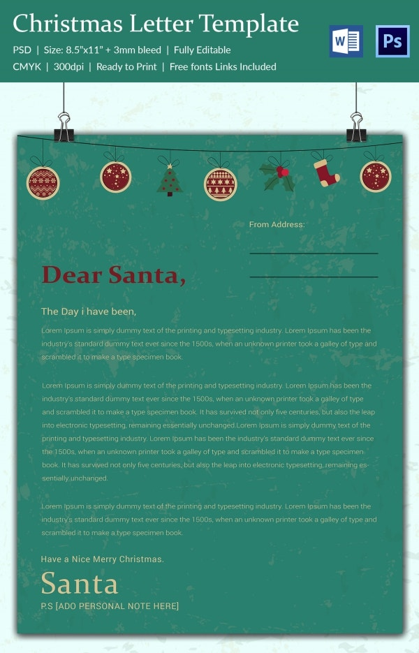 Green Backdrop Christmas Letterhead Template