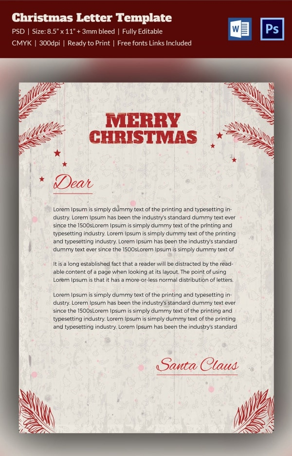 10 christmas letterheads word psd format download free minimalist christmas letterhead template spiritdancerdesigns Images