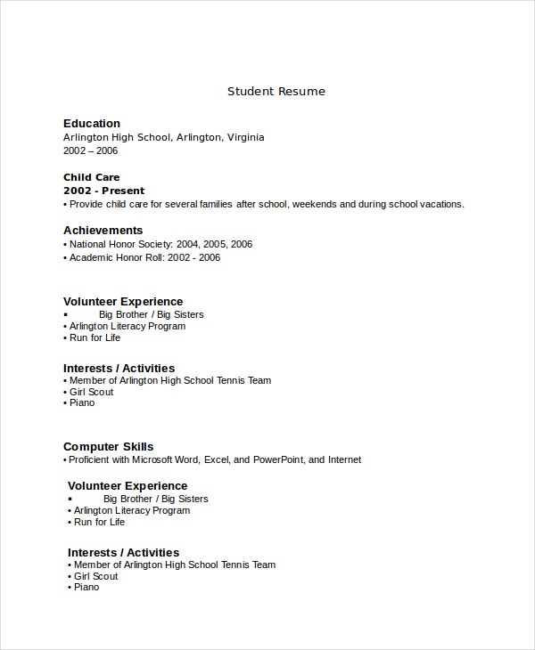 resume for high school student with no experience