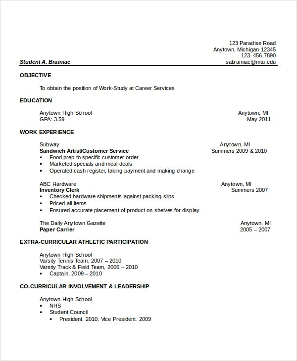 impressive resume for high school graduate