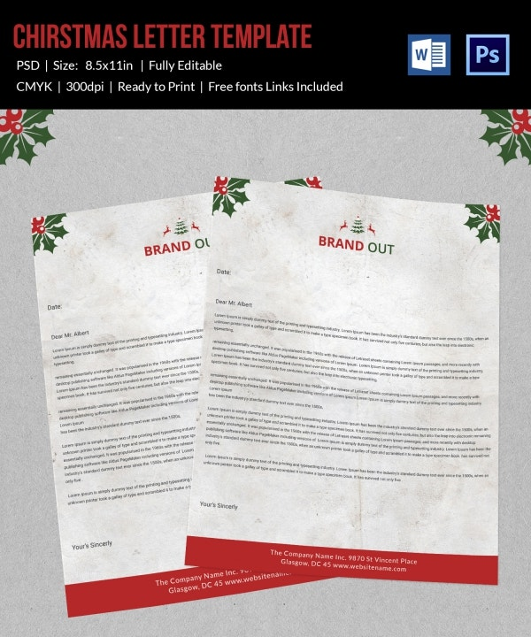 Signature Christmas Letterhead Template