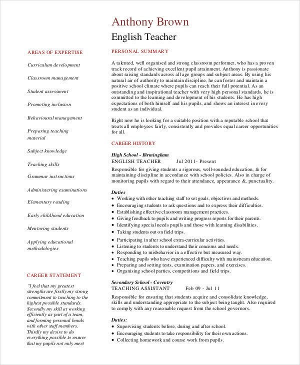 Teacher Resume 9 Free Sample Example Format Free Premium