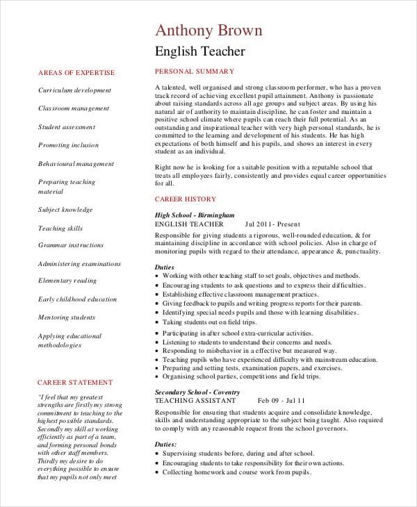 English Tutor Resume Example