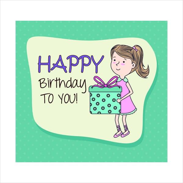 Cartoon Style Happy Birthday Greeting Card