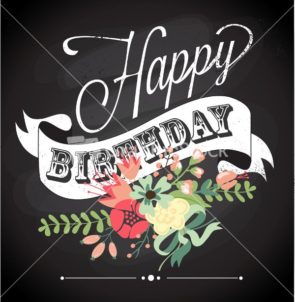 Birthday Card In Chalkboard Calligraphy Style