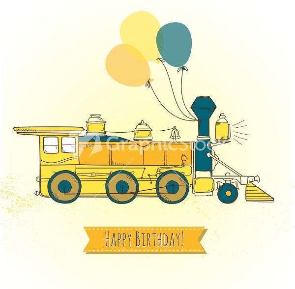 Cute Train Birthday Card With Ballons