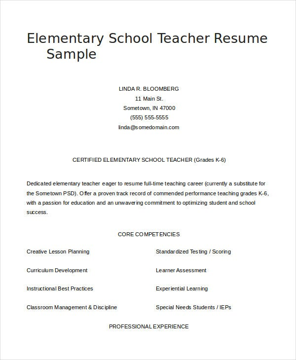 Elementary Teacher Resume Examples. Sample Teacher Resume Examples