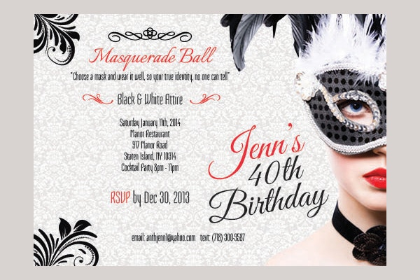 Masquerade Birthday Invitation Card