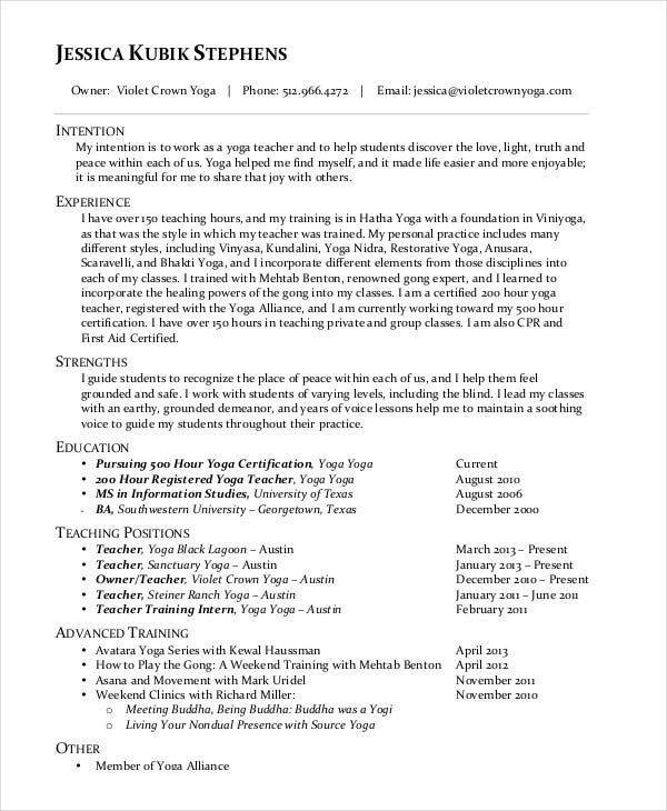 yoga teaching resume