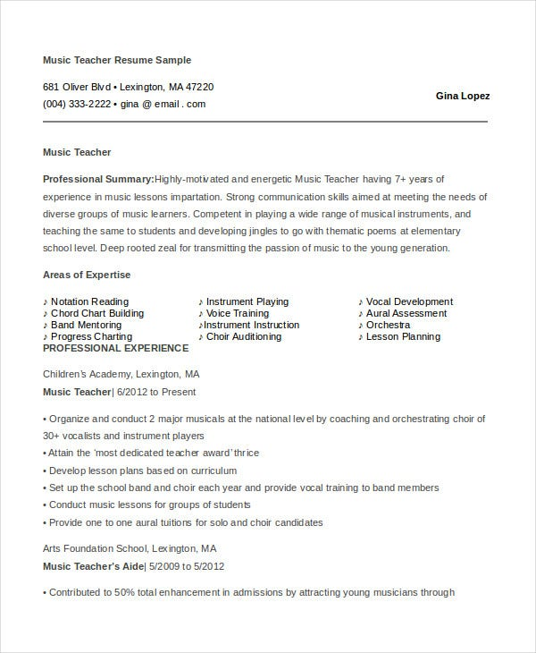 music-teacher-resume-sample