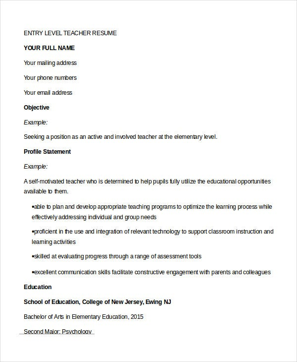 Entry Level Teacher Resume  Teacher Resume