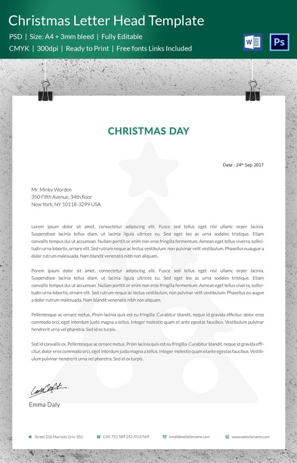 Christmas Tree Letterhead Template