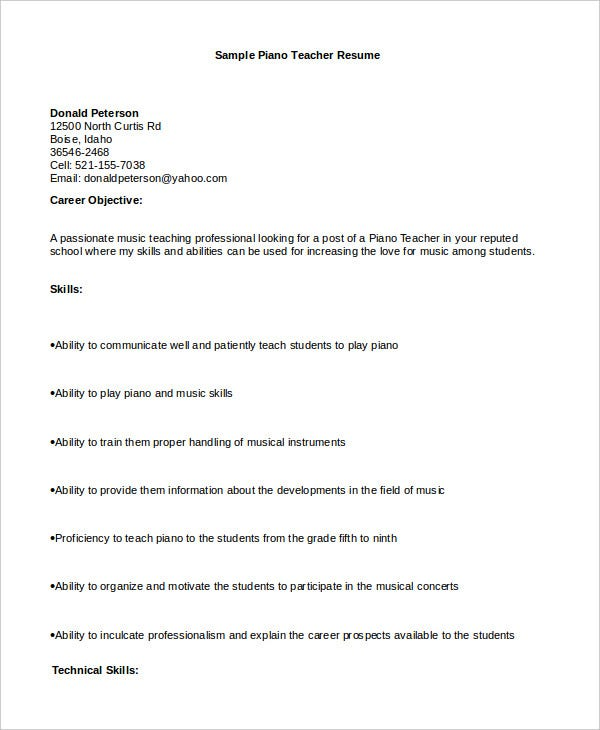 Resume Example For Piano Teacher  Template