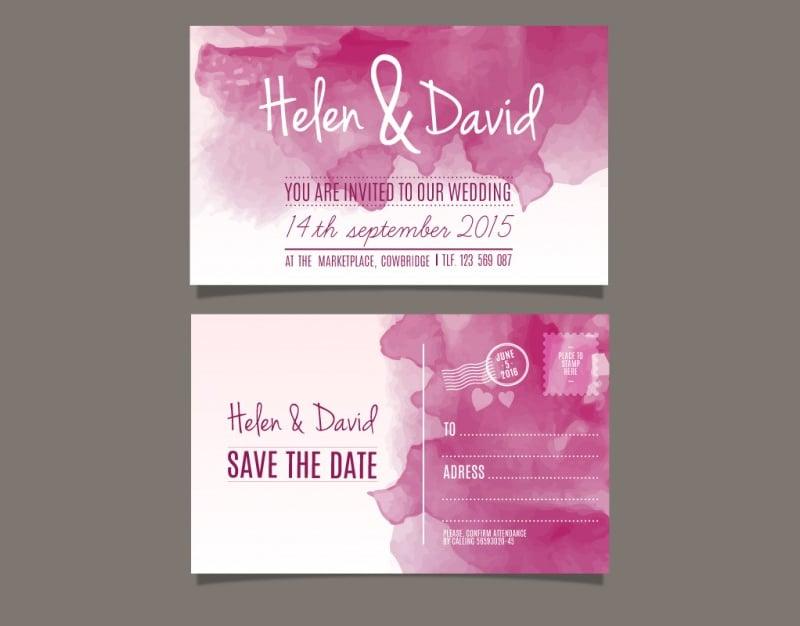 watercolor wedding invitation post card
