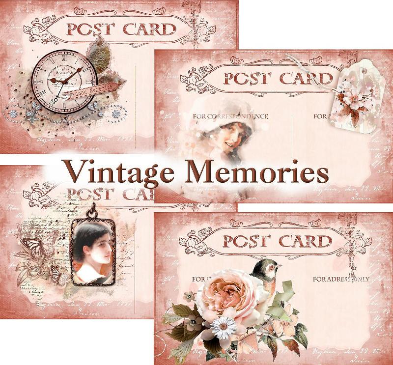 vintage memories post card design