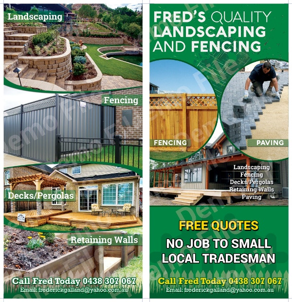 quality landscaping and fencing flyer